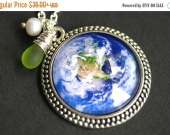 BACK to SCHOOL SALE Save the Planet Necklace. Planet Earth Pendant with Fresh Water Pearl and Green Teardrop. Earth Necklace. Handmade Neckl