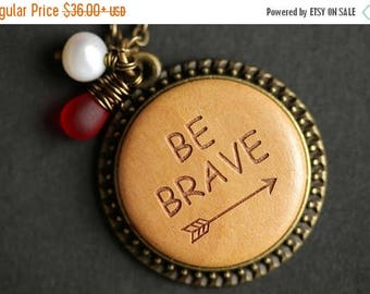 VALENTINE SALE Wood Be Brave Necklace. Arrow Pendant. Wooden Necklace with Wire Wrapped Teardrop and Fresh Water Pearl. Bronze Necklace. Han