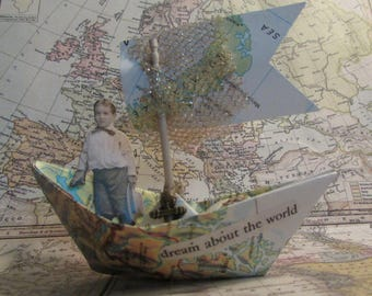 whimsical paper boat boy sailing paper doll nursery decor adventure travel vintage paper doll little boy dream about the world