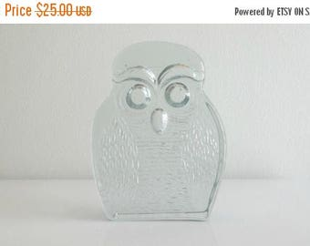 ON SALE Blenko Glass Owl Bookend
