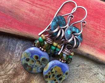 Rustic Casual * Indigo Blue * Blue Earthy earrings n342- Earthy Natural . Organic Jewelry . Artisan Lavender Lampwork . Textured Artisan