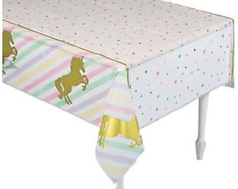 Pastel unicorn tablecloth  - unicorn table cover - unicorn theme party - unicorn party - unicorn party decor - Unicorn table cloth