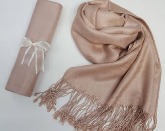 TAUPE BEIGE ( Beige) Pashmina Shawl. Nude Shawl. Bridesmaid gifts. Bridesmaid shawls. Pashmina Scarf. Wedding favor.