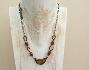 Jewellery, Necklace, Resin Pendant, Jade Scott Pendant, Vintage Beads, Chain Pendant Necklace, Rustic, Boho, Earthy, Orange Necklace