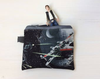 Star Wars Coin Pouch - Small Star Wars Coin Purse Credit Card Case - Spaceship - Millennium Falcon Fabric - Boys Gift - Sci Fi Fan