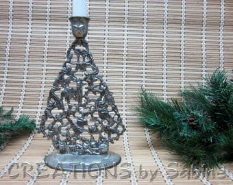 FREE SHIPPING Godinger Silver Art Christmas Tree, Candle Holder Silver Plated Candlestick Ornate Table Decor Ornaments Joy Vintage (395)