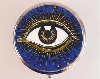 All Seeing Eye Pill Box Case Pillbox Holder Trinket Stash Box Occult Franz Von Stuck Illuminati