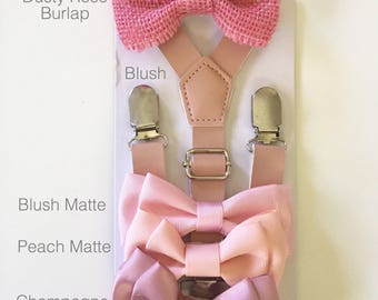 Dusty Rose bowtie Groomsmen Outfit Blush Pink Bow tie Suspenders Groom toddler baby kids boys Rustic Wedding Ring Bearer gift Leather Braces