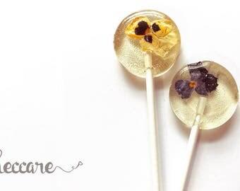 Pansy Flower Lollipops // 20 Edible Flowers Lollipops // Summer Weddings // Fall Wedding Favor // Spring Flower Lollipops // Pressed Flowers
