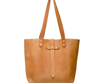 Leather Tote Bag, Tan Summer Sunset Leather Tote, Foil Monogram