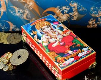 "Handmade Cash Box ""Ganesha"", Feng Shui Money Box, Feng Shui gifts, Wooden money box, Cash Box, Indian God Ganesha"