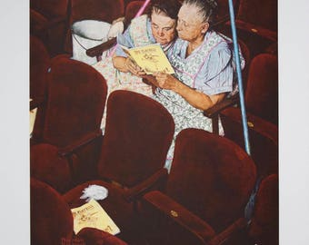 Norman Rockwell-Charwomen in Theater-1976 Poster