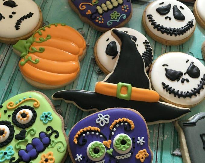 1 Dozen Assorted Halloween Cookies- Day of the Dead Cookies, Ghost, Skull, Pumpkin