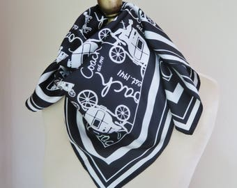 BLACK white scarf, COACH silk scarf, square scarf, silk headscarf. silk neckerchief, coach and horses,  graphic scarf, signed scarf