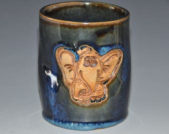 Dark blue ceramic tumbler cup with sweet elephant texture, fun to hold cup, ready to ship gift