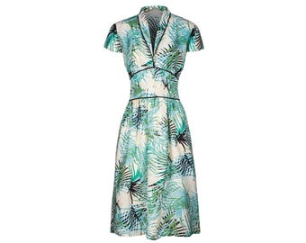 Dina, 40s Dress Style, Palm Tree Print, Vintage inspired shawl collar.