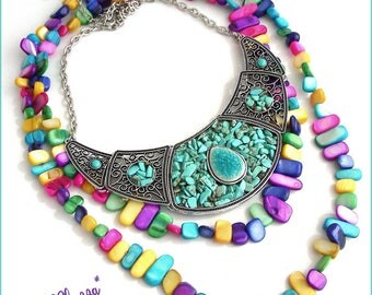 Turquoise bib necklace and colorful necklace - ceramic beads, mother of Pearl