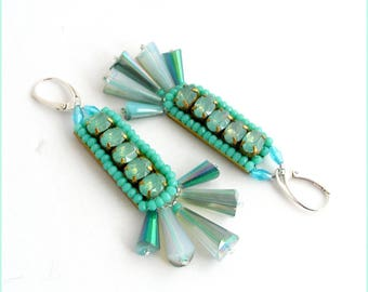 Chic - gray/green - Crystal, Pearl Earrings