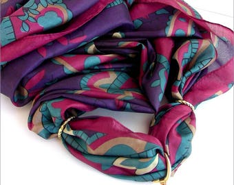 Jewelry scarf - bail / past-scarf - pink - silk scarf - purple-Fuchsia/Turquoise Agate