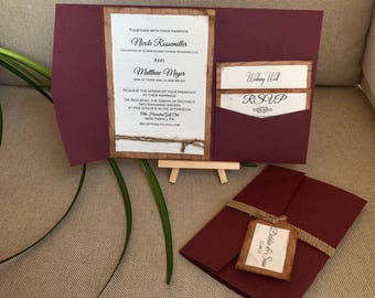 Wooden wedding invitation in burgundy - Rustic wedding invitation set - Outdoor invitation suite - Invitations with burlap - country club
