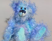 Joachim is a warm and handsome, one of a kind, artist bear by Barbara-Ann Bears in wonderful fluffy hand-dyed mohair like a blue summer sky