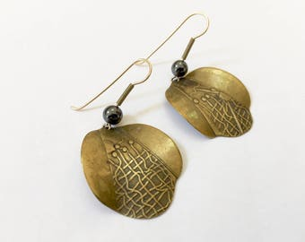 M. Sutton Modernist Earrings, Brass Earrings Textured Abstract Mod Dangle Pierced Earrings