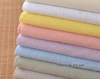 Soft Pre Washed Line Fabric, Solid Linen Cotton Blend Fabric For Kid's Clothing- 1/2 yard