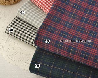 Yarn Dye Plaid Cotton Fabric, Red Grey Gray Black and Off White Plaid Cotton - 1/2 Yard