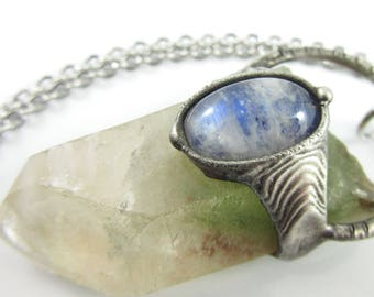the tree ent - prase quartz phanom crystal pendant with rainbow moonstone