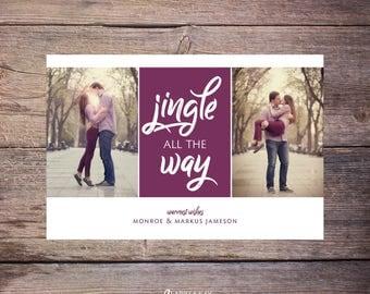 Printable Jingle all the Way Holiday Photo Card, Merry Christmas, Print at Home Holiday Card, Photos Christmas Card, Printable File