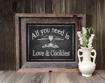 Cookie Favors Sign | PRINTED Cookie Bar Wedding Sign, All You Need is Love and Cookies, Cookie Favors, Chalkboard Wedding Signs, Bakery Sign