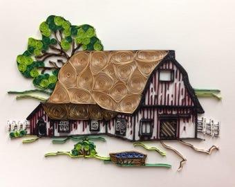 Quilling, quilled art, barn, framed art, 11x14