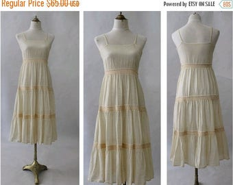 70s indian gauze cotton strap dress small
