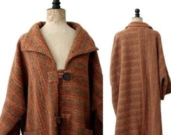1980 Oversized knit  Wool Coat /80s long sweater coat