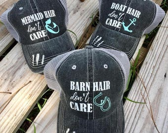 Boat  Hair Dont Care Hat // Barn Hair Dont Care // Distressed hat // Country hat // Southern Hat //