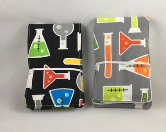 Science Tiny Artist Kids Crayon Roll, Doodle Pad, Notebook Holder, Party Favor, Stocking Stuffer