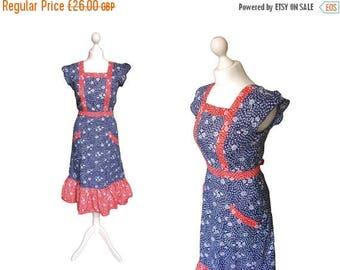 On Sale Floral Sun Dress | 70's Sun Dress | 1970's Dress | Blue And Red | Prairie Boho Summer Dress | Small