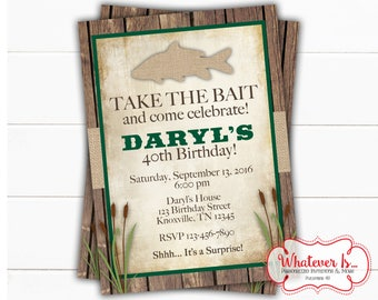 Burlap and Fishing Birthday Invitation | 40th Birthday Invitation | Fishing Invitation | Fishing Birthday | Adult Birthday | Child Birthday