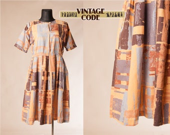 Marimekko style 80s vintage cotton dress / Abstract Geometric print 80s Day dress /  size Extra Large to Plus