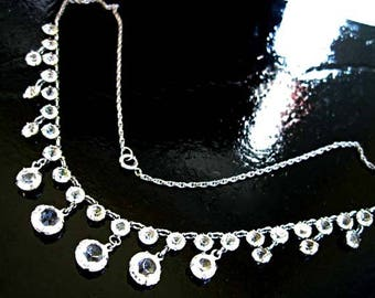 Lead Crystal Art Deco Choker, 12k White Goldfilled, Winter Bride Wedding Necklace, Vintage Clear Crystal Rounds, Faceted Stone Fringe Drops
