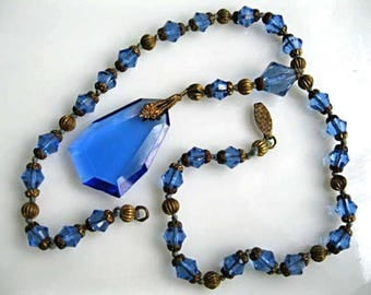Blue Glass Y Necklace, Vintage Pendant Beveled Glass Drop, Brass Spacers and Cut Glass Beads, Czech Glass Art Deco 1930s