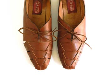 80s Flats Lace Up Shoes Size 39 8 UK6 Reddish Brown Leather