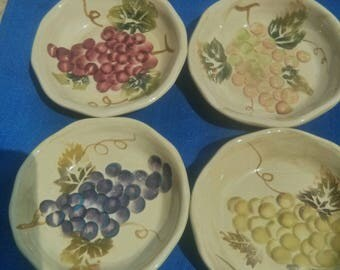 Four hand made and handpainted small dishes for Tappas/coasters/trinket dishes