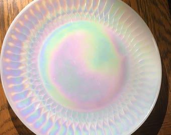 Federal Glass Iridescent Milk Glass Dinner Plate