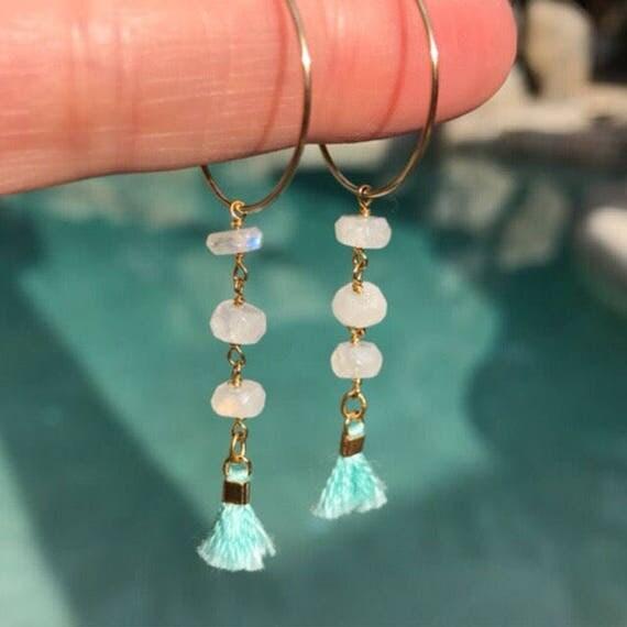 Tassel Moonstone Earrings, Tassel jewelry, tassel especially, moonstone jewelry, Hoop earrings, hoop, boho jewelry, boho wedding