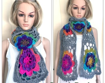 Womens teens flower grey rainbow circle multicolour scarf cowl scarflette neck warmer hippy boho festival clothes accessories crochet knit