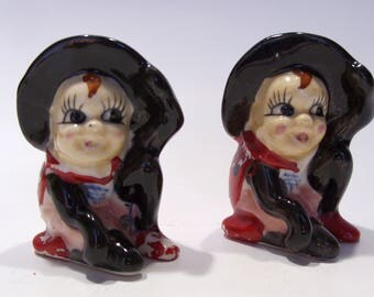 Ladybug Witch Vintage Salt and Pepper Shakers Made in Japan