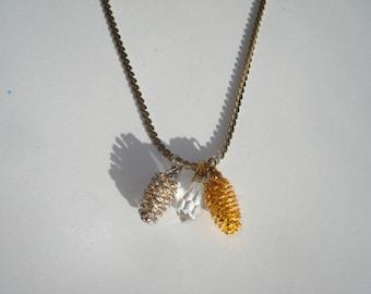 Vintage Gold Pinecone Necklace - Nature Pendant - 1980s