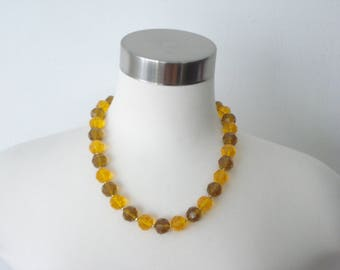 Chunky Orange and Golden Bead Necklace - Vintage large beaded Statement fashion Jewelry- Hong Kong - 1960s