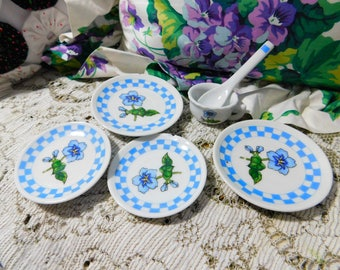 Doll Dishes, Small Toy Dishes, Toy China Dishes, Vintage Toy Dishes, Flower Toy Dishes, Blue Flower Toy Dishes :)s*
